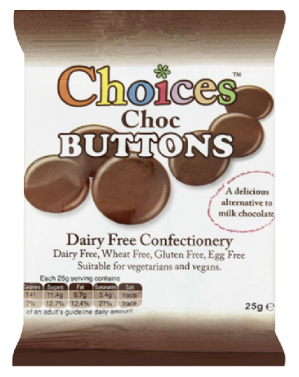 Choices Dairy Free Chocolate Buttons 25g